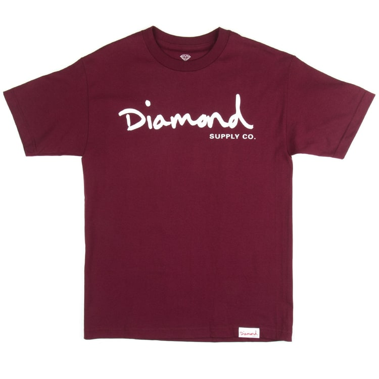 Diamond Supply Co OG Script T-Shirt - Burgundy