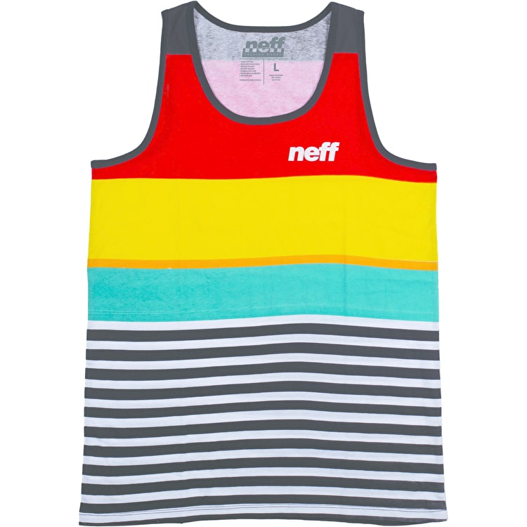 Neff Wide Stripe Tank Top - Red/Yellow