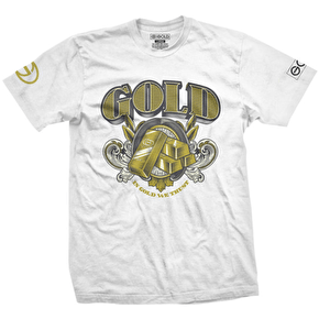 Gold T-Shirt - Currency White
