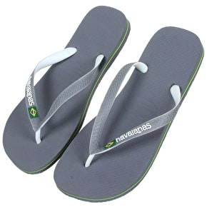 Havaianas Brasil Mix Flip Flops - Steel Grey/White