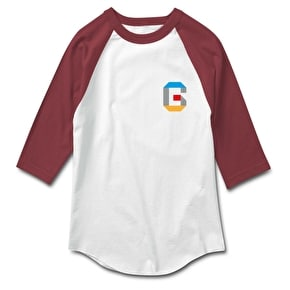Grizzly Coliseum 3D Raglan T-Shirt - White/Burgundy