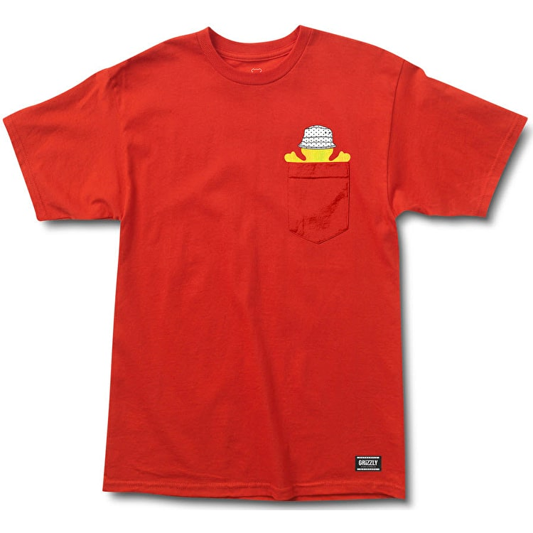 Grizzly Bucket Bear Pocket T-Shirt - Red