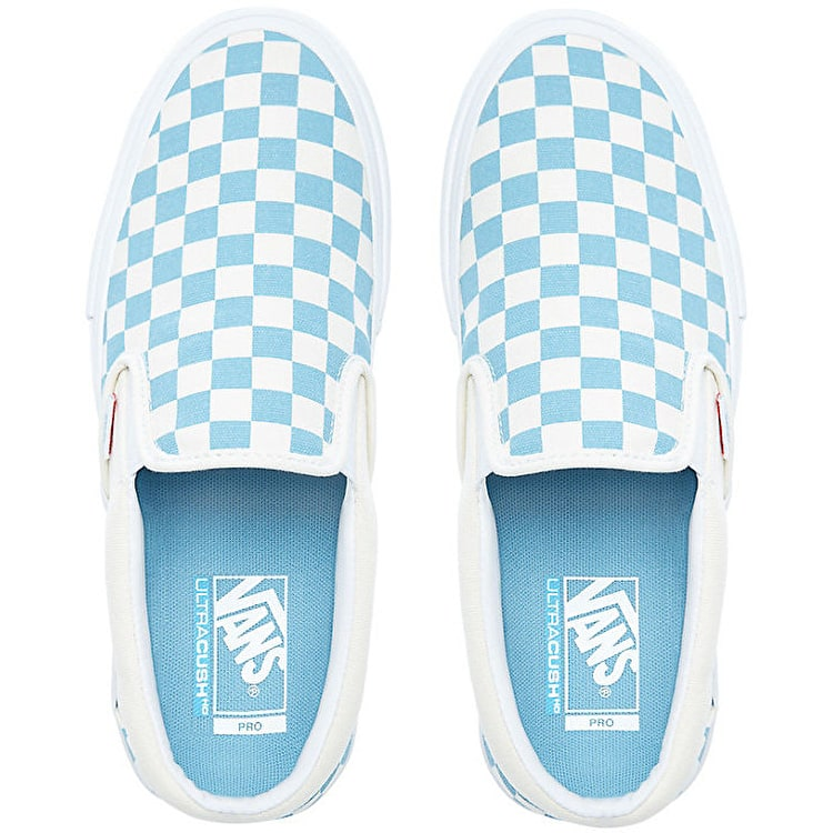 Vans Slip-On Pro Skate Shoes - (Checkerboard) Adriatic Blue/White