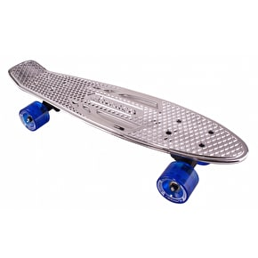Karnage Chrome Retro Skateboard - Silver/Blue