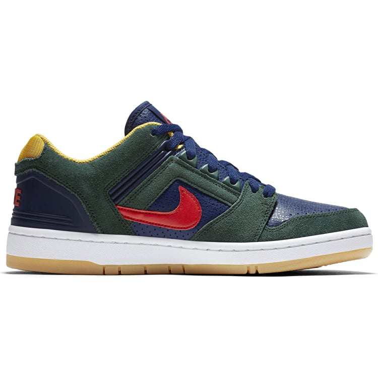 Nike SB Air Force II Low Skate Shoes - Midnight Green/Habanero Red/Blue Void
