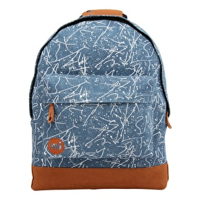 Mi-Pac Denim Squiggle Backpack - Mid Blue/White