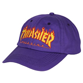 Thrasher Flame Old Timer Strapback Cap - Purple