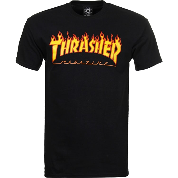 Thrasher Flame Logo T shirt - Black