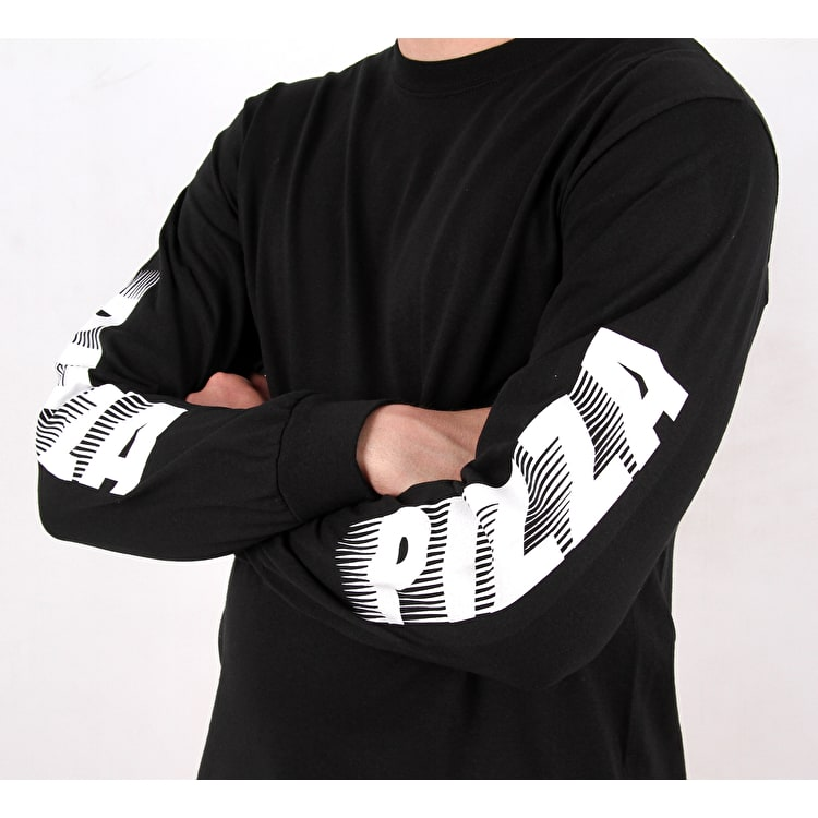 Pizza Dissolving Speedy Longsleeeve T shirt - Black