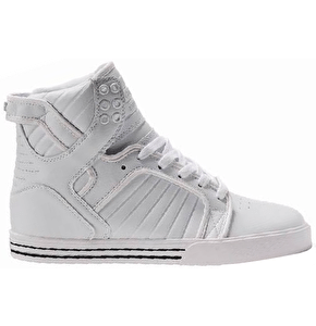 Supra Youth Skytop Skate Shoes - White