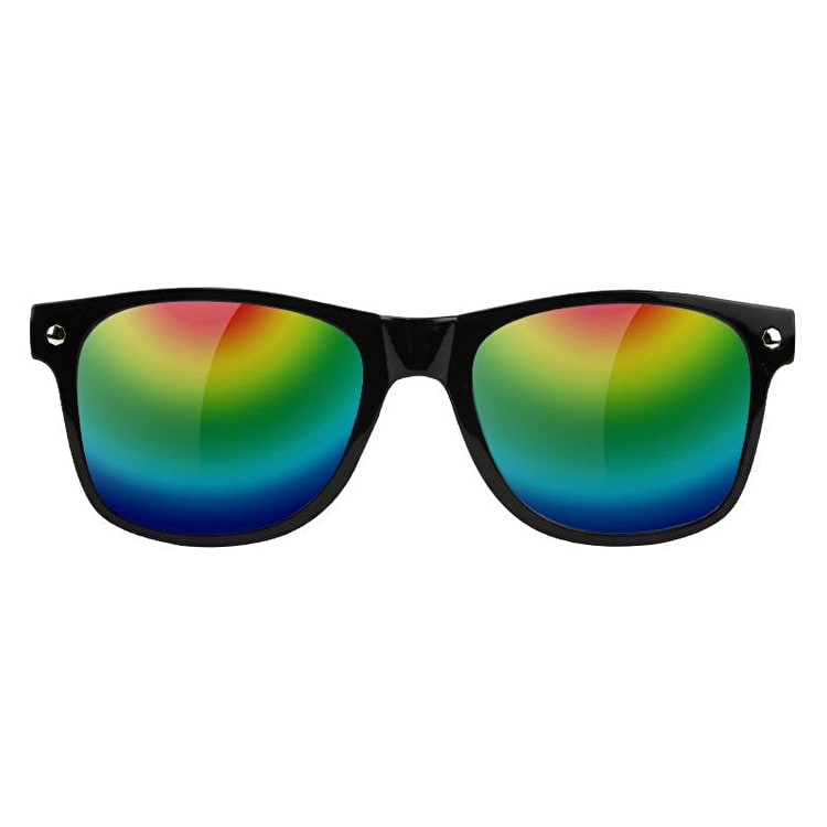 Glassy Sunhaters Leonard Sunglasses - Black/Coloured Mirror