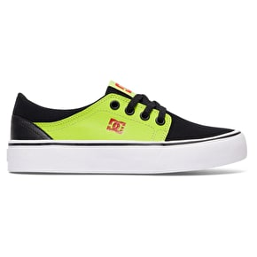 DC Trase Kids Skate Shoes - Black/Red/Green
