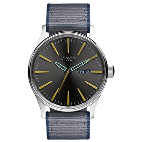 Nixon Sentry Leather Watch - Gunmetal/Grey