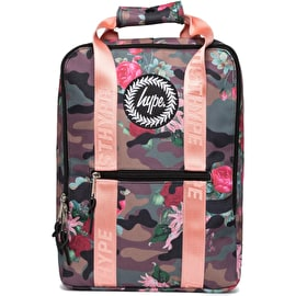 Hype Camo Floral Boxy Backpack - Khaki/Pink