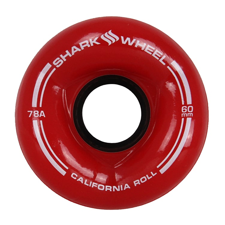 Shark Wheel California Roll 60mm 78A Longboard Wheels - Clear Red
