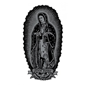 Santa Cruz Guadalupe Skateboard Sticker - Black/Silver 6