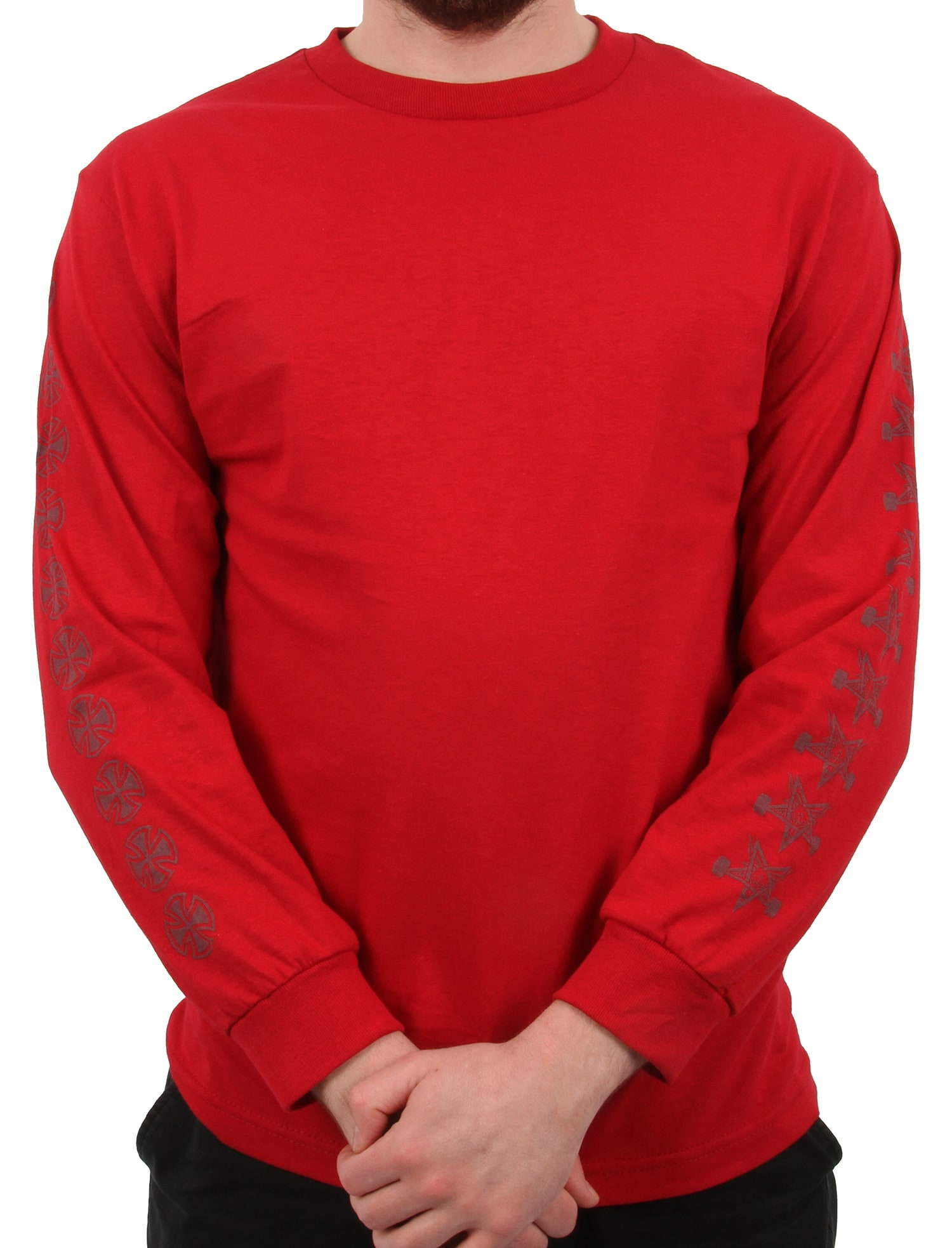 Independent x Thrasher Pentagram Cross Long Sleeve T Shirt - Cardinal Red |  Independent Skateboard Trucks | Independent Skate Clothing | Skatehut
