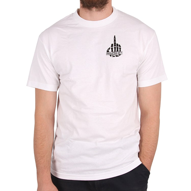 Skeleton Key Middle Finger T-Shirt - White