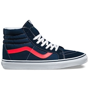 Vans Sk8-Hi Reissue Shoes - (Neon Leather) Dress Blues/Neon Red