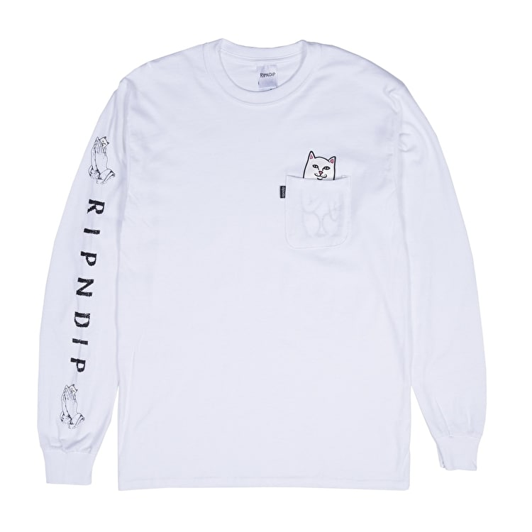 RIPNDIP Lord Nermal Long Sleeve T shirt - White