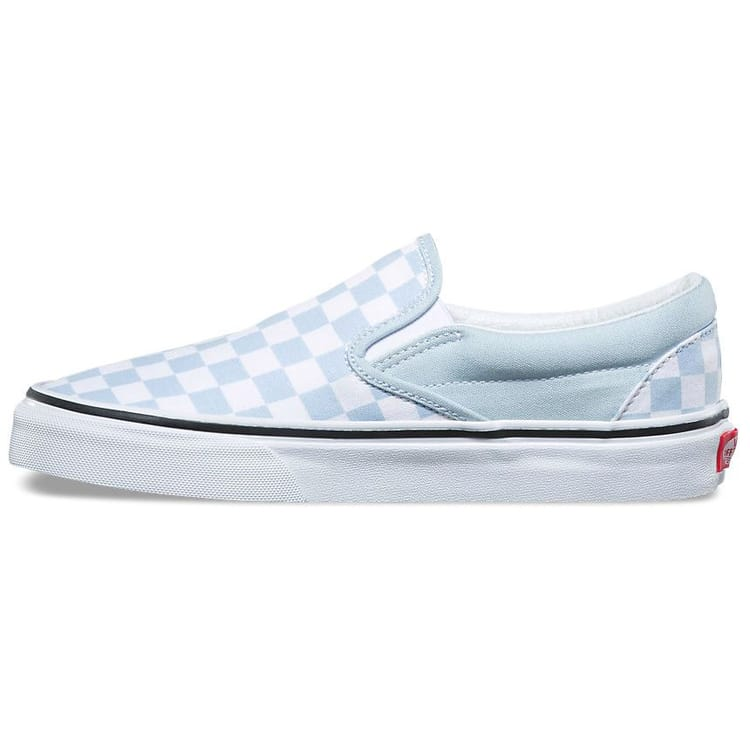 Vans Classic Slip-On Checkerboard Skate Shoes - Baby Blue/True White