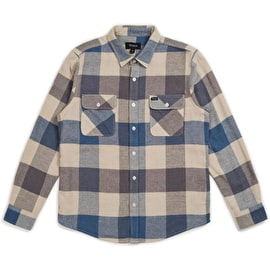 Brixton Bowery Long Sleeve Flannel Shirt - Off White/Dusty Blue