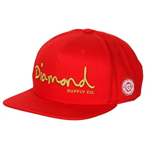 Diamond OG Script Snapback Cap - Red