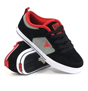 Fallen Clipper SE Kids Skate Shoes - Black/Cement Grey/Blood Red UK Size 1 (B-Stock)