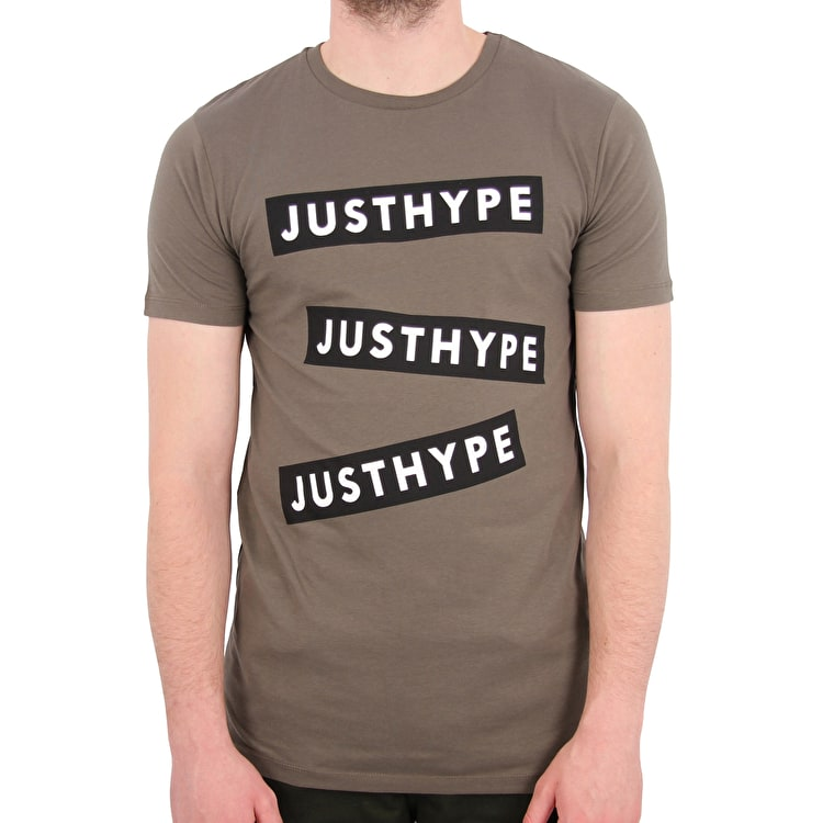 Hype Three Logo T-Shirt - Khaki/White