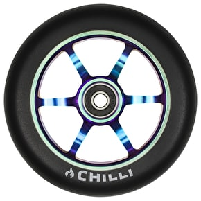 Chilli Pro 6 Spoke 120mm Scooter Wheel w/Bearings - Black/Neochrome