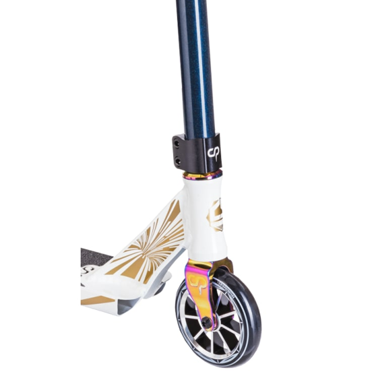 "Crisp Glow In The Dark Ultima 4.5"" Stunt Scooter - White/Dark Blue Metallic"