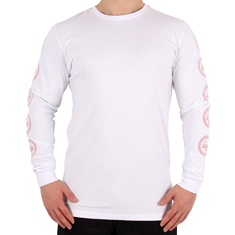 Hype Crest Long Sleeve T shirt - White/Pink