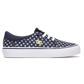 B-Stock DC Trase TX SE Kids Skate Shoes - Navy/Yellow - Size - UK 5 (Box Damage)