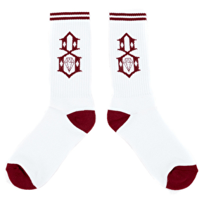 Rebel8 Logo Socks - White/Burgundy