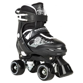 B-Stock Rookie Kids' Adjustable Quad Skates - Pulse Black/White - Small (Junior UK 8 - Junior UK 11)