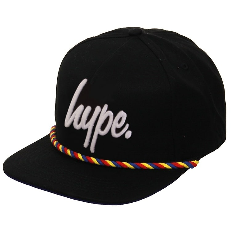 Hype Snapback Cap - Rope Front - Black