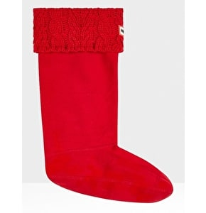 Hunter Dual Cable Knit Welly Socks - Military Red