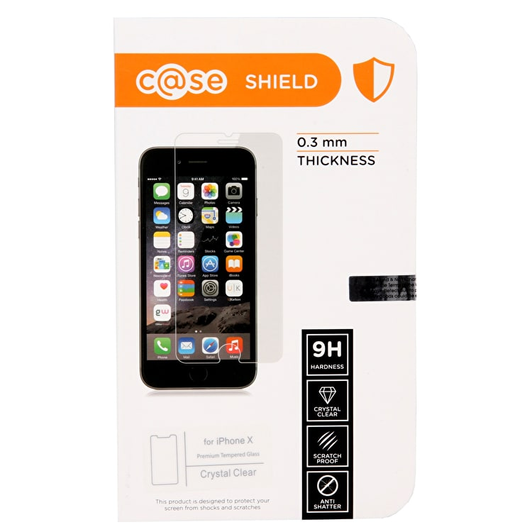 C@se Shield Tempered Glass iPhone X Case