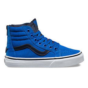 Vans Sk8-Hi Zip Kids Skate Shoes - (Canvas) Imperial Blue/Parisian Night