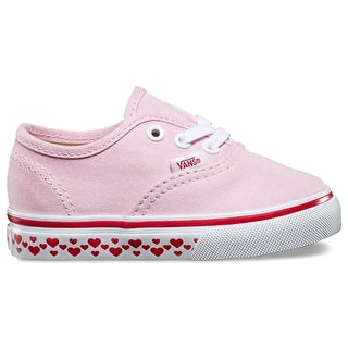 Vans Authentic Toddler Shoes - (Hearts Tape) Pink Lady/Red