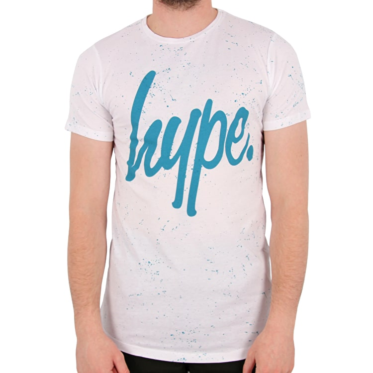 Hype Speckle Script T shirt - White/Teal