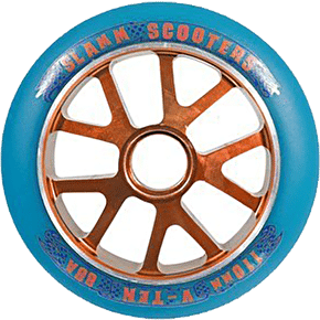 Slamm Aluminium Orange Core Blue PU Wheel - 110mm