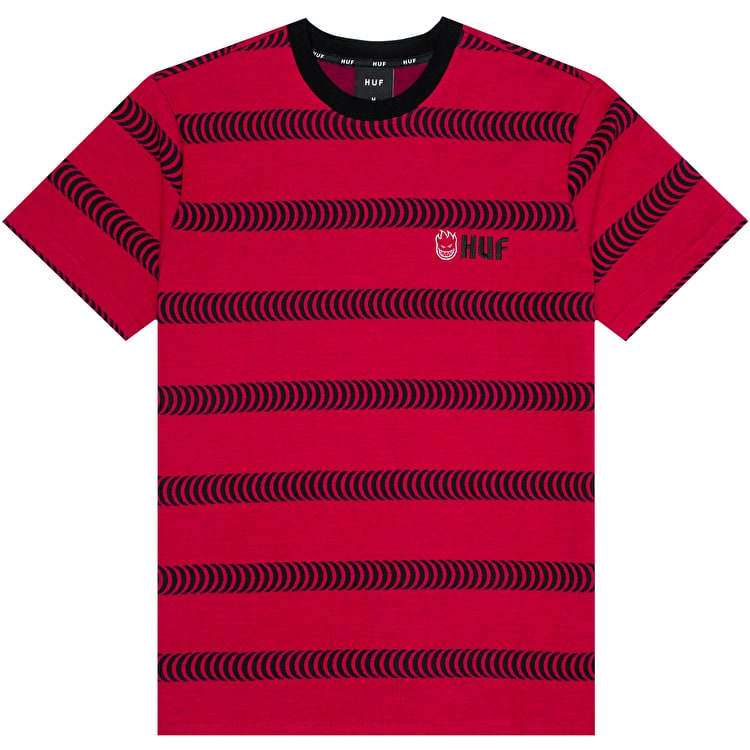 Huf X Spitfire Striped Knit T Shirt - Red