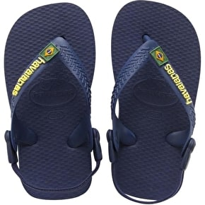 B-Stock Havaianas Brazil Logo Kids Flip-Flops - Navy Blue/Yellow Toddler UK 6 (Box Damage)