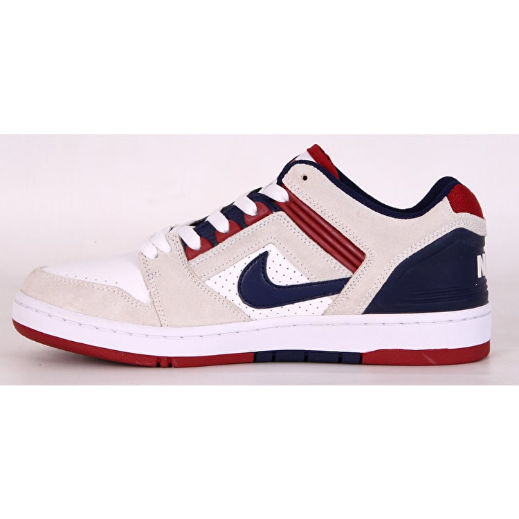 Nike SB Air Force II Low Skate Shoes - White/Blue Void/Red Crush