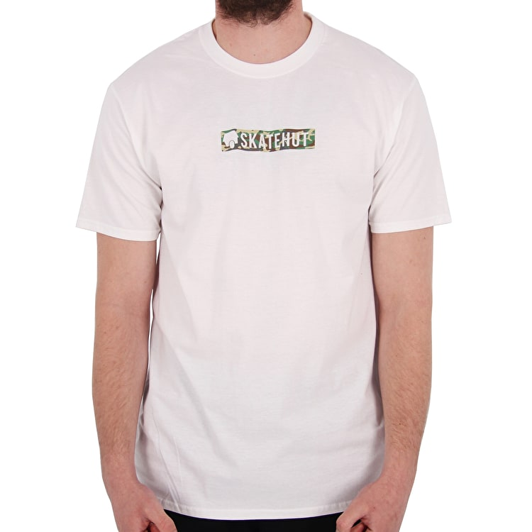 SkateHut Bar Logo T shirt - White/Camo