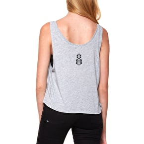 Rebel8 Skate And Deceased Womens Crop Tank Top - Heather Grey