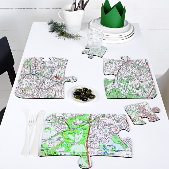 Four Personalised Jigsaw Shaped Place Mats