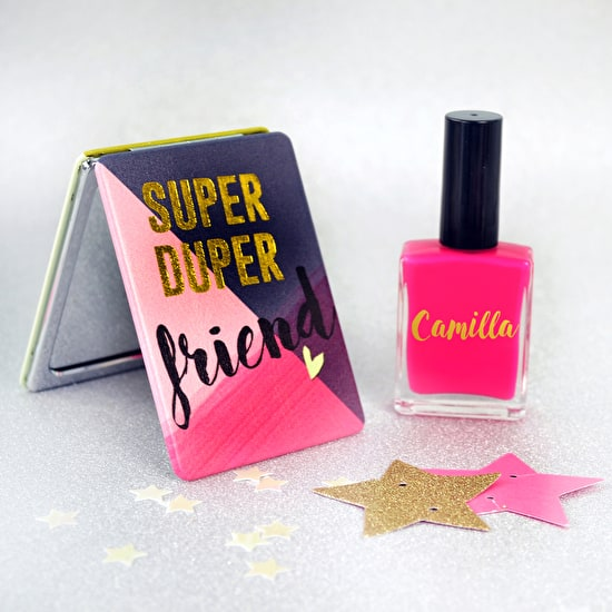 Friend Mirror With Personalised Nail Polish