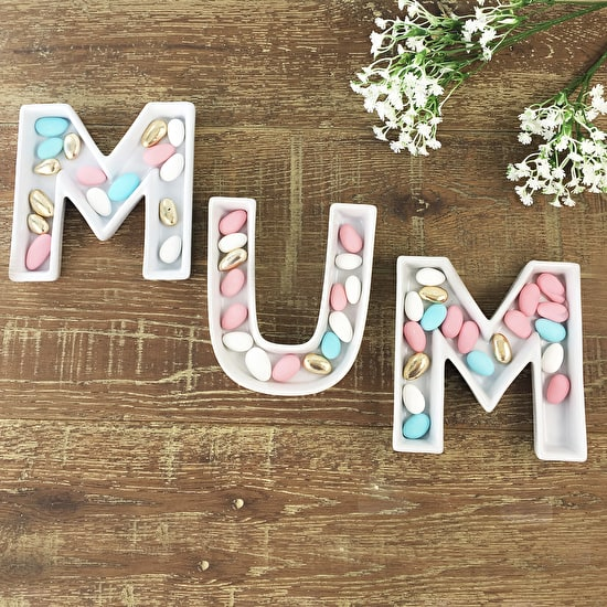 Mum Ceramic Letter Dishes